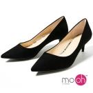 mo.oh-素面麂皮絨質感OL上班鞋中跟鞋-黑