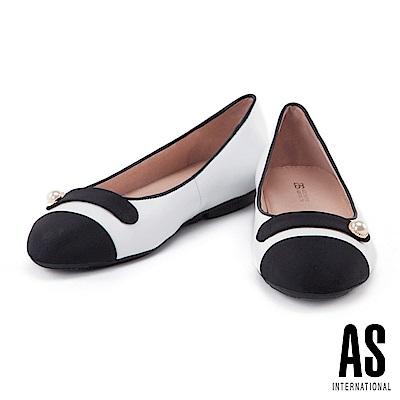 娃娃鞋 AS 優雅浪漫珍珠羊皮圓頭平底娃娃鞋-白