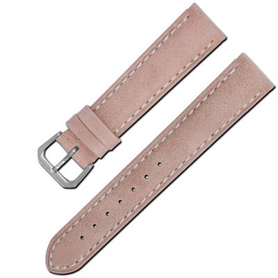 Watchband /各品牌通用柔軟簡約質感車線牛皮錶帶- 藕粉色