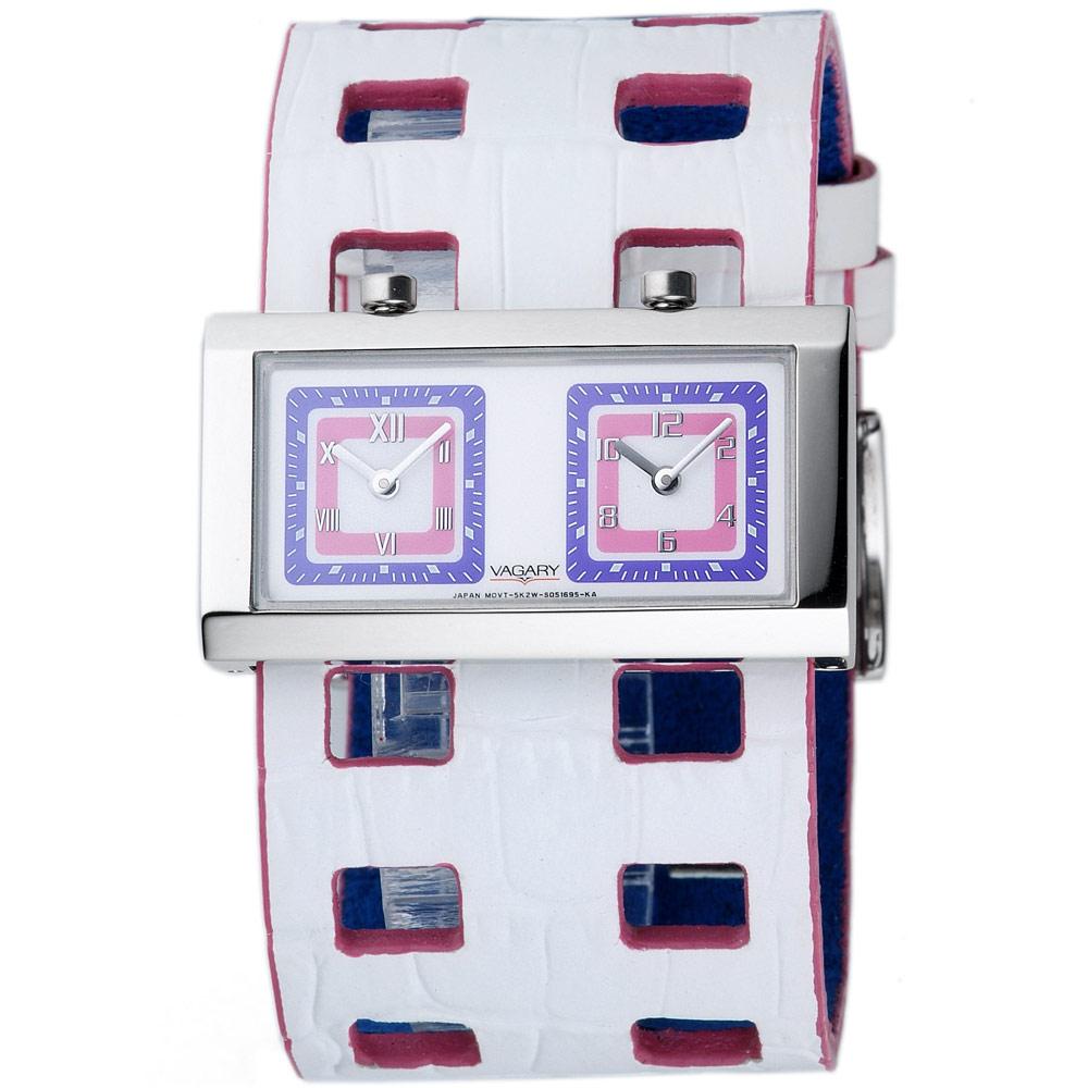VAGARY 摩登交織雙時區個性腕錶-白/40mm