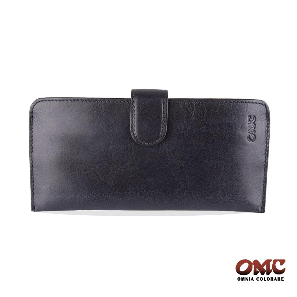 OMC 原皮系列-植鞣牛皮舌片壓扣14卡透明窗雙隔層零錢長夾-藍色