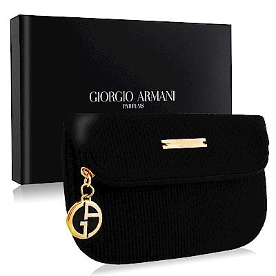 GIORGIO ARMANI 時尚經典黑色手拿包晚宴包附禮盒-精品質感