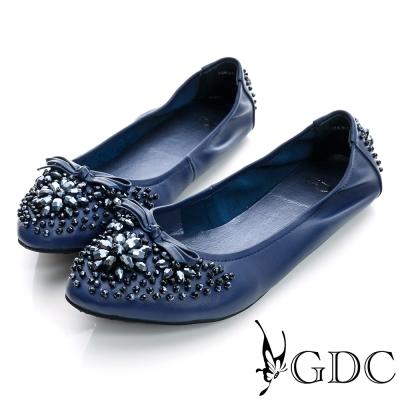 GDC百搭-超軟蝴蝶結水鑽彈力真皮平底娃娃鞋-藍色
