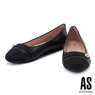 娃娃鞋 AS 優雅浪漫珍珠羊皮圓頭平底娃娃鞋-黑