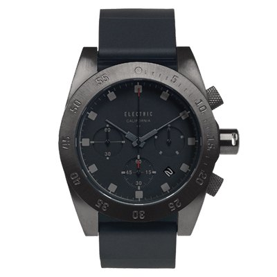 ELECTRIC DW01系列-經典潛水三眼計時腕錶-鐵灰x黑矽膠帶/44.5mm