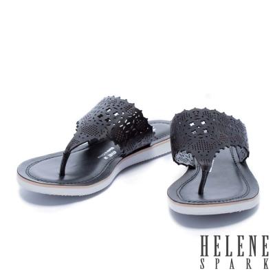 拖鞋 HELENE SPARK 鏤空雕花沖孔牛皮夾腳一字厚底拖鞋-黑