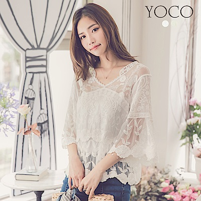 東京著衣-yoco 法式浪漫V領蕾絲輕肌造型上衣(共二色)