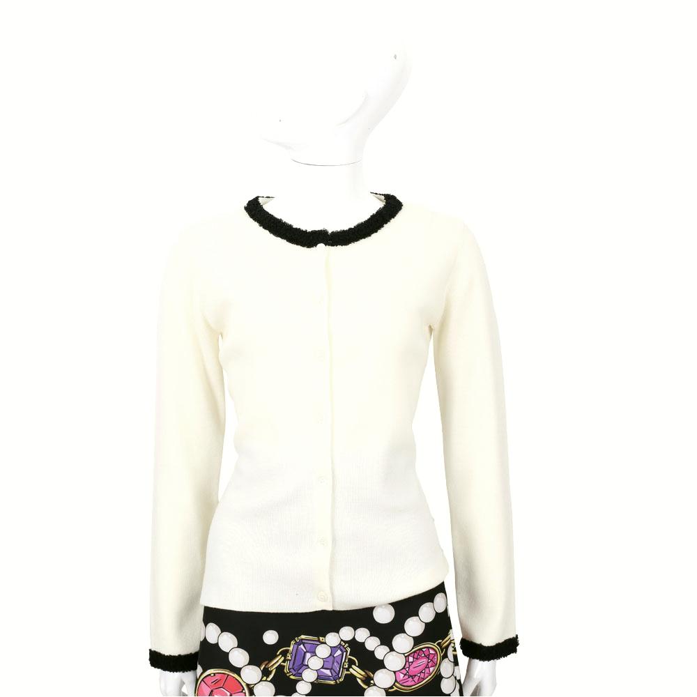 BOUTIQUE MOSCHINO 米白色皺褶蕾絲滾邊羊毛外套(100%LANA)