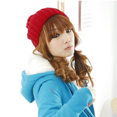 Aimee Toff Q蓬球球厚織俏皮毛帽(紅)