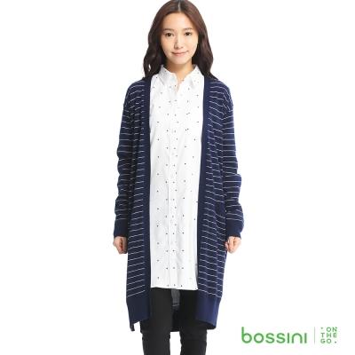 bossini女裝-長版條紋針織外套03海藍