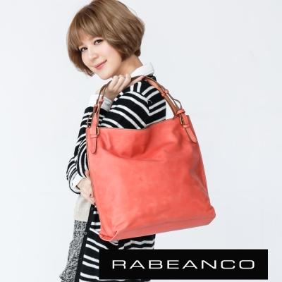 RABEANCO 迷時尚牛皮系列雙帶垂墜肩背包 粉橘紅