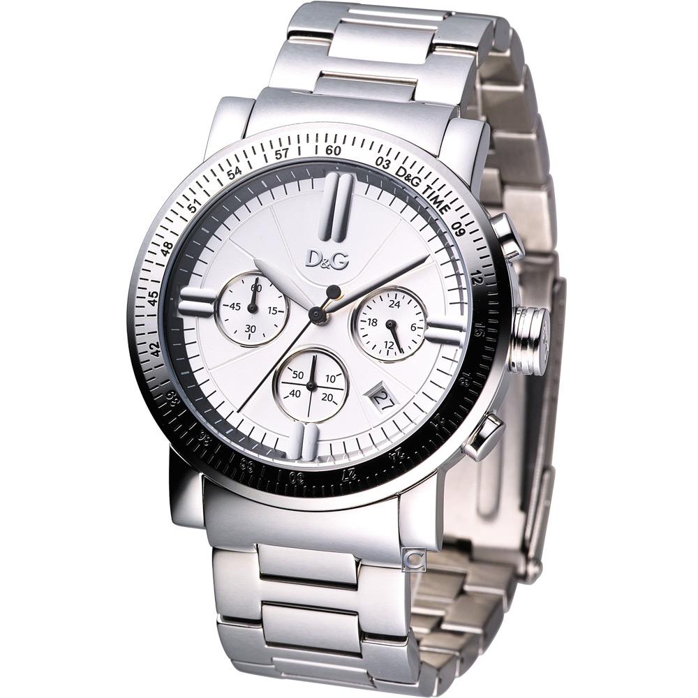 D&G Genteel 時代風格計時腕錶-銀白/43mm