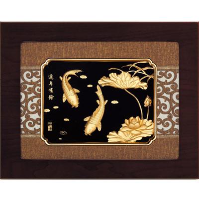 開運陶源 金箔畫 純金 *古典中國風系列*【連年有餘】...34x27cm