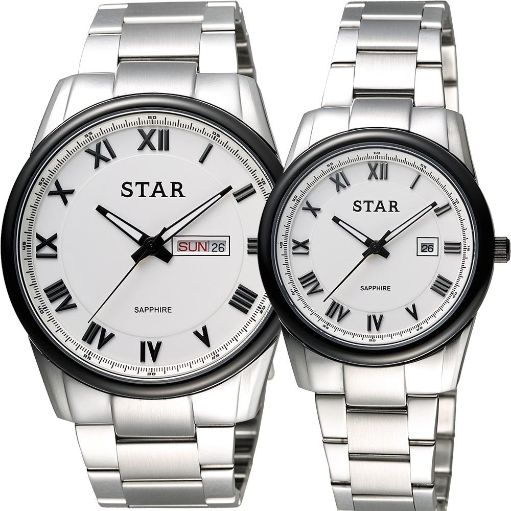 STAR 時代 羅馬城市時尚對錶-白x黑框/43+32mm