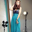 【La Belleza】魅力引誘‧深V爆乳罩杯扶桑花圖騰鬆緊長洋裝