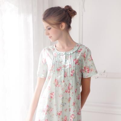 羅絲美睡衣 - 玫瑰心語短袖洋裝睡衣(繽紛綠)