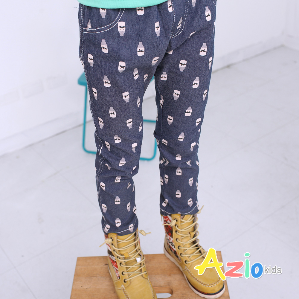 Azio Kids-滿版鬍子罐車縫線假口袋長褲(藍)