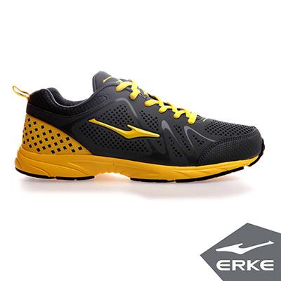 ERKE 鴻星爾克。男運動常規慢跑鞋-青銅灰/金黃