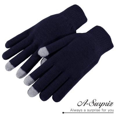 A-Surpriz 純色素雅針織保暖觸控手套(深藍)