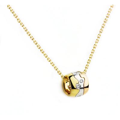 Georg Jensen Fusion 三色K金鑲鑽項鍊