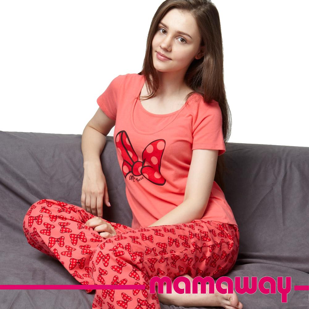 【Mamaway】米妮蝴蝶結短袖孕哺居家服