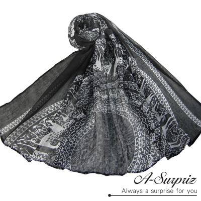 A-Surpriz 優雅復古麋鹿圖樣巴黎紗圍巾(氣質黑)