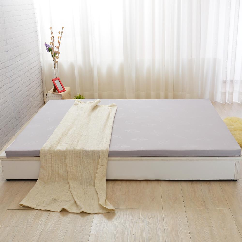 單大3.5尺-LooCa 法國Greenfisrt天然防蹣防蚊5cm乳膠床枕組-灰