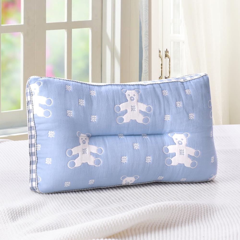 HOYACASA藍熊 超柔純棉紗布Q棉枕