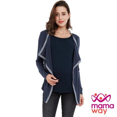 孕婦裝 哺乳衣 滾邊配色外套孕哺假兩件上衣(共二色) Mamaway