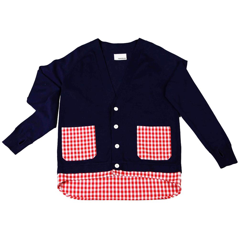 摩達客 美國LA設計品牌【Suvnir】深藍紅格紋針織衫外套