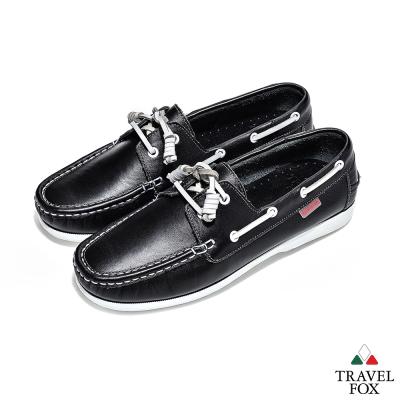 Travel Fox(男) 亞歷士 全牛皮休閒帆船鞋 - 黑白配