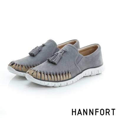 HANNFORT ZERO GRAVITY流蘇真皮氣墊休閒鞋-女-自在灰