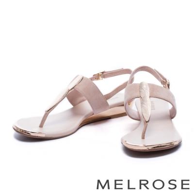 涼鞋 MELROSE 金色羽毛T字麂皮厚底涼鞋-粉