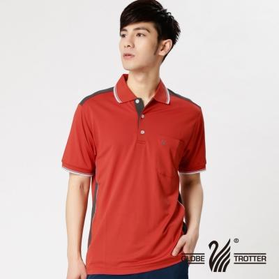 【遊遍天下】MIT台灣製男款吸濕排汗抗UV機能POLO衫SV055桔紅