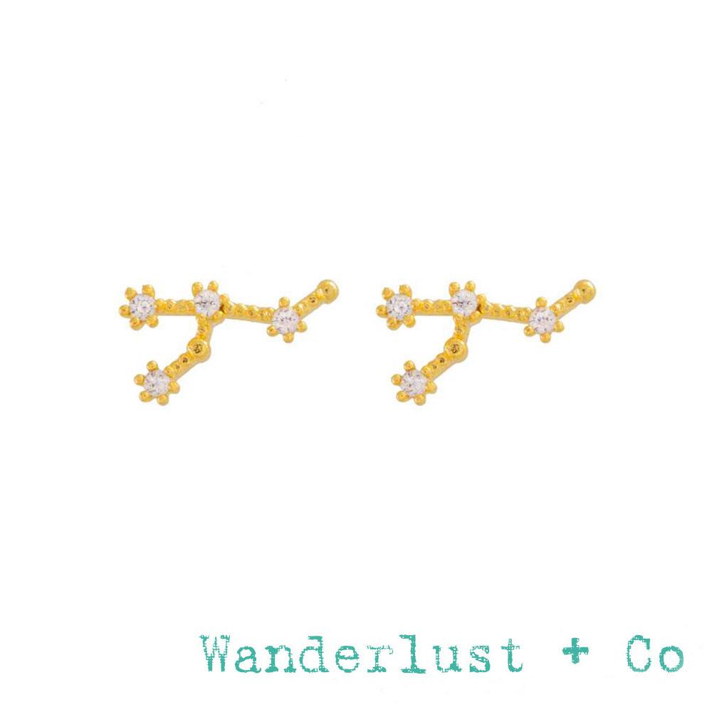 Wanderlust+Co 澳洲品牌 獅子座耳環 金色鑲鑽耳環 LEO