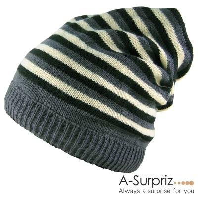 A-Surpriz-都會潮流兩用雙面條紋毛線帽-雅痞黑