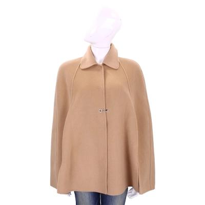 PINKO 駝色素面羊毛罩衫(97%WOOL)