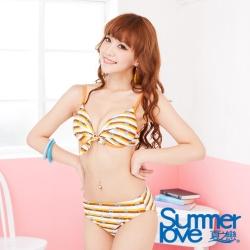 LOVETEEN夏之戀 橘色條紋鋼圈比基尼二件式泳衣