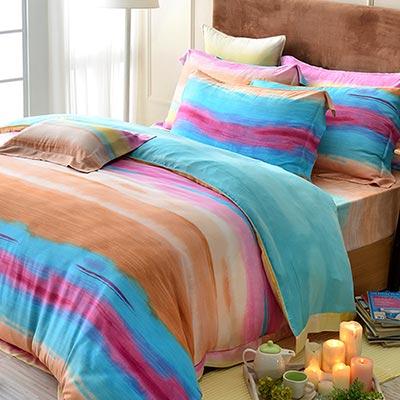 義大利La Belle 夏洛雅韻 加大天絲四件式舖棉兩用被床包組