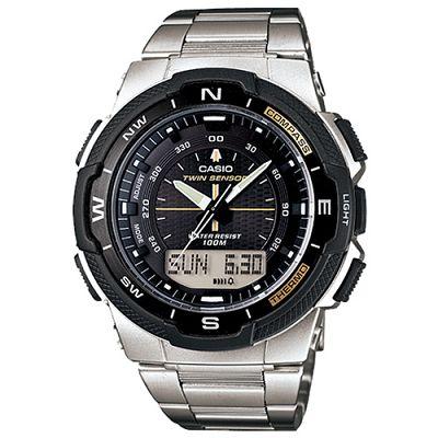 CASIO 輕巧登山王者風範戶外運動雙顯不鏽鋼錶(SGW- 500 HD- 1 B)-黑/ 46 . 8 mm