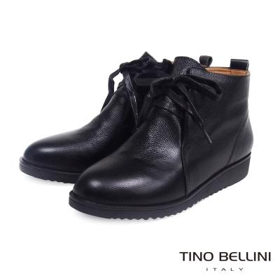 Tino Bellini簡約舒適全真皮鞋帶休閒短靴_黑