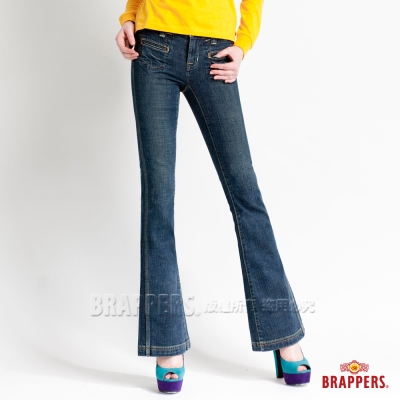 BRAPPERS 女款 新美腳系列-女用彈性大喇叭褲-漸層藍
