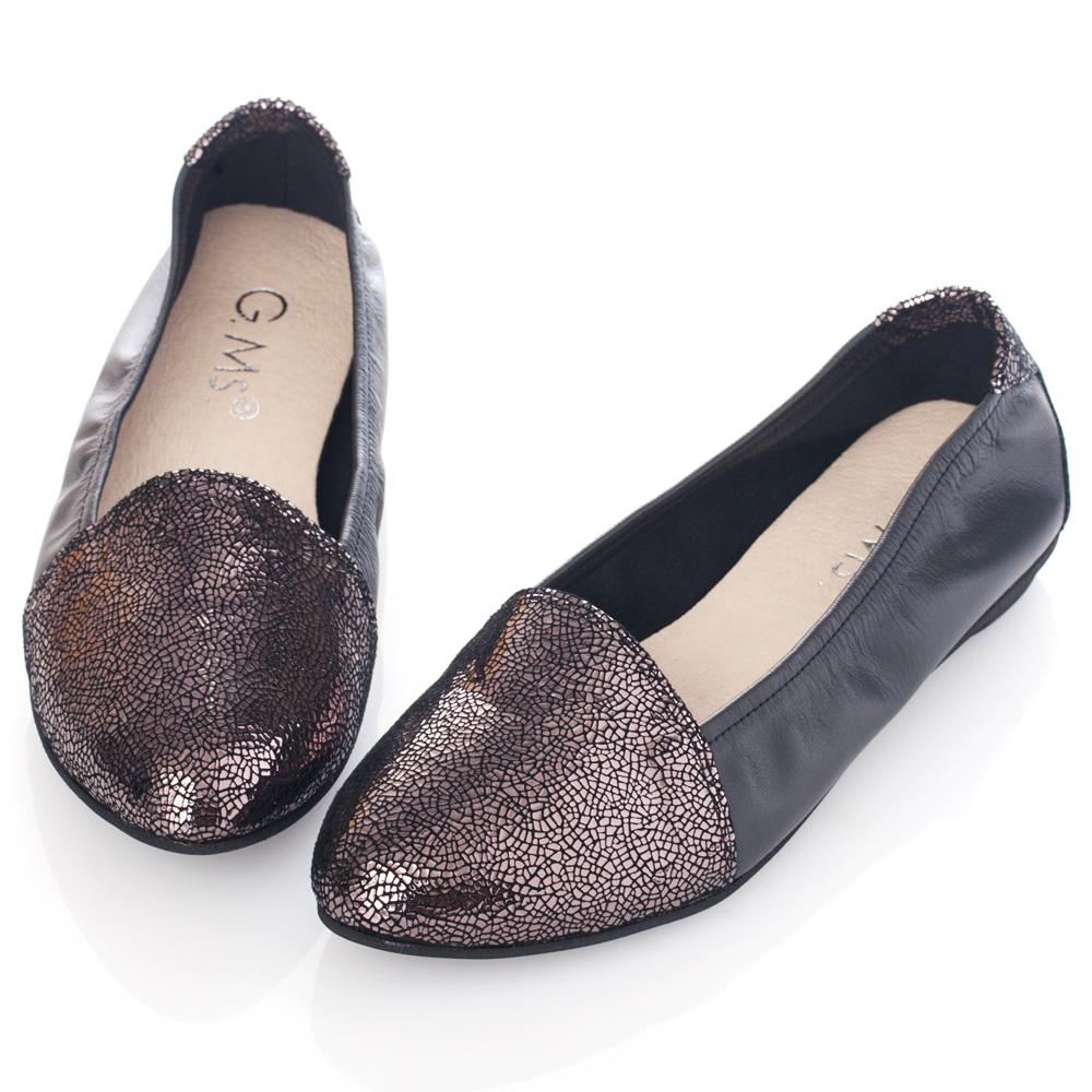 G.Ms. MIT系列-全真皮尖頭金屬爆裂紋懶人鞋-銀灰