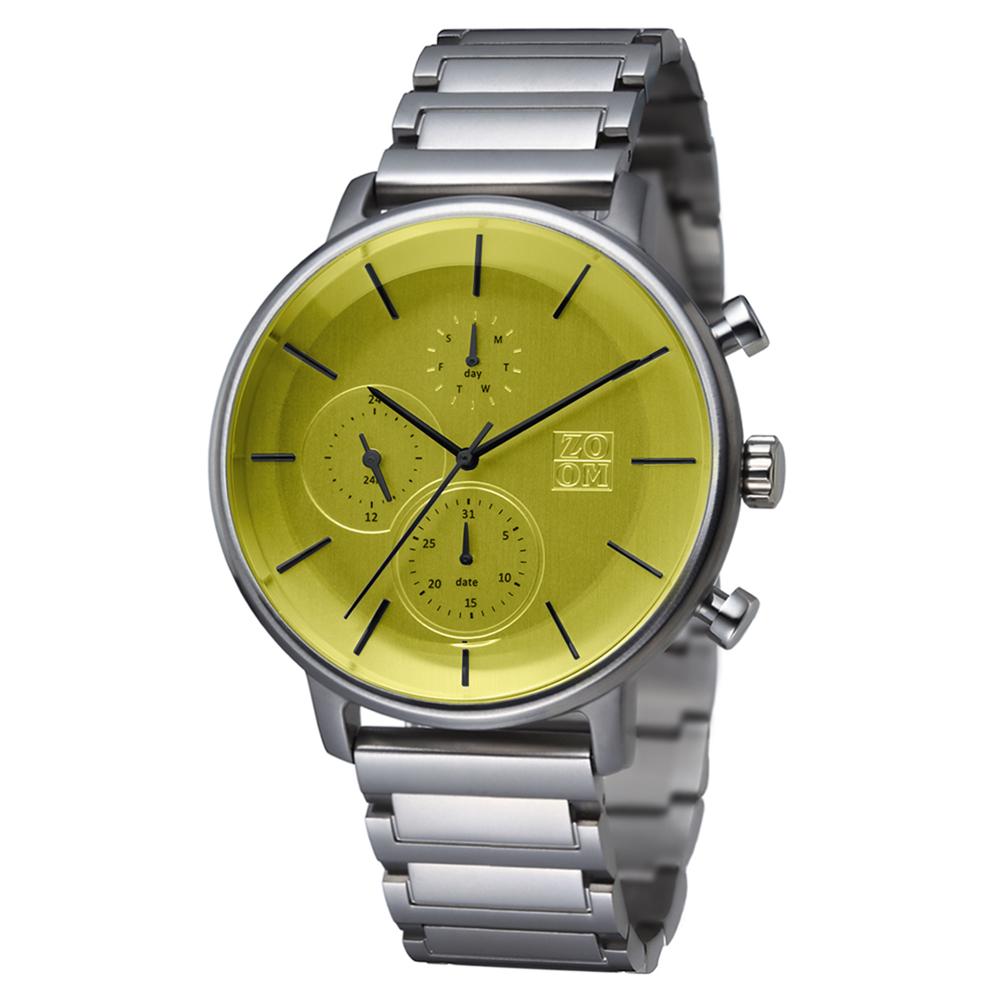 ZOOM-LENS 美感聚焦概念計時腕錶-綠色/44mm