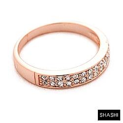 SHASHI 雙排鑲鑽玫瑰金戒指 求婚戒 定情戒 925純銀鑲18K玫瑰金