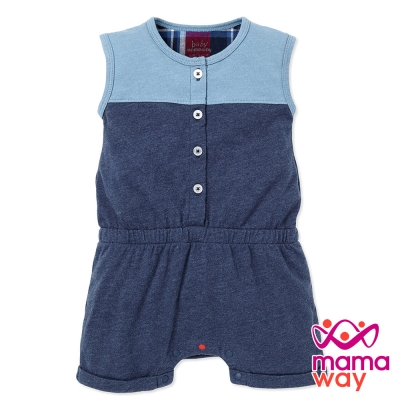 短袖包屁衣 棉質色塊拼接平口褲包屁衣(共二色) Mamaway