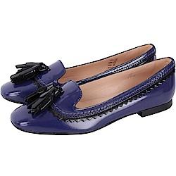 TOD'S 漆亮皮流蘇飾豆豆樂福鞋(女鞋/靛藍色)
