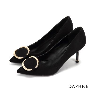達芙妮DAPHNE 高跟鞋-半圓金屬飾條尖頭高跟鞋-黑