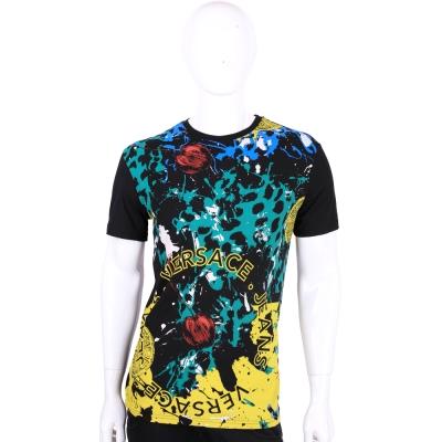 VERSACE 黑色彩墨塗鴉圖印棉質短袖T恤 展示品