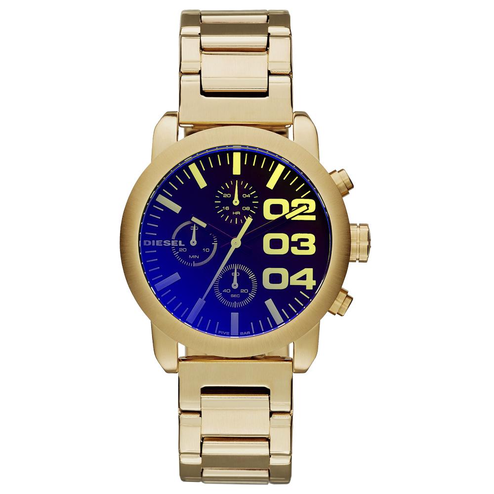 DIESEL 強悍自我時尚三眼計時腕錶-金x鍍膜玻璃-/40mm